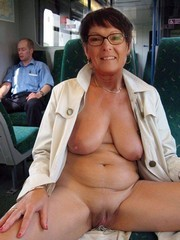 These crazy granny put her wrinkled boobs