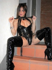 Wild mature babe in jackboots and latex..