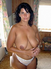 Gorgeous brunette housewife with huge..