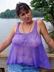 Sexpot grandma has a huge saggy melons