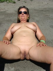 Mature nudist in the pool and on the..