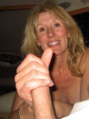 Horny Blonde MILF suck dick and flashing
